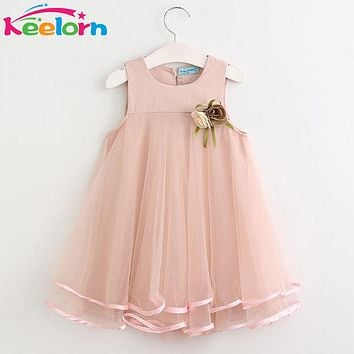 Girls Dress Princess Dresses Sleeveless Appliques Floral Design for Girls Clothes Party Dress