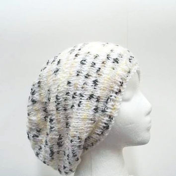 Knitted slouch hat white and multi-colors large size 5266