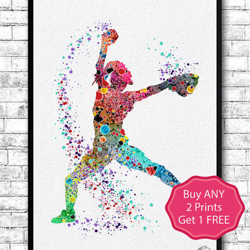 Baseball Softball Pitcher Watercolor Print Art Print Girl's Softball Painting Softball Illustration Softball Art Poster Softball Watercolor