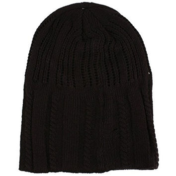 Winter 2ply Open Cable Tight Knit Slouchy Long Beanie Skull Ski Hat Cap Black S