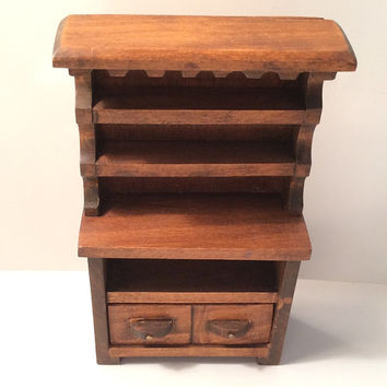 Dollhouse Cupboard Thick Hardwood 2 Drawers Vintage Furniture Mini Miniature Doll House Wood Wooden Credenza Sideboard Shelves Border Rustic