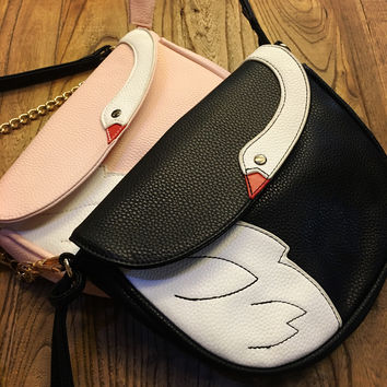 Women's Crossbody Bag Swan Cartoon Design PU Leather Front Flap Closure Shoulder Chain Bag