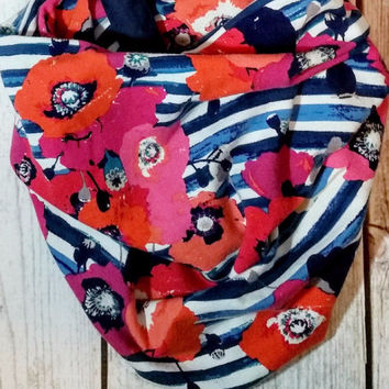 Floral Stripes Infinity Scarf