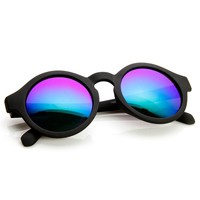 Retro Fashion Circle Flash Mirror Lens Keyhole Round Sunglasses