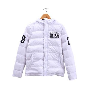 Mens Down Jackets with Hat 80% Grey Duck Down Printing Letters Warm Coat