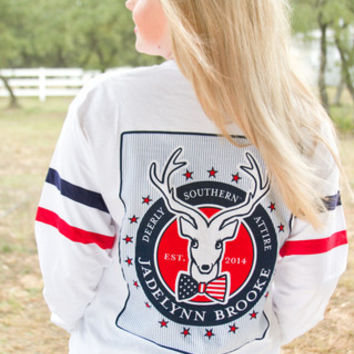 Jadelynn Brooke Deerly Southern Attire Tee - Red/White/Blue