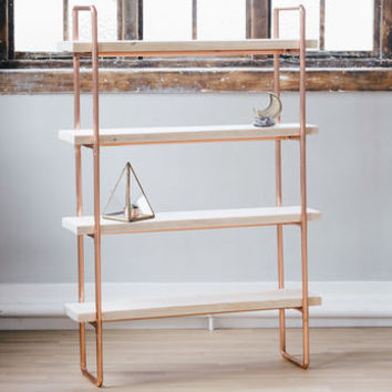 Copper And Timber Scaffold Wood Large Shelving Unit