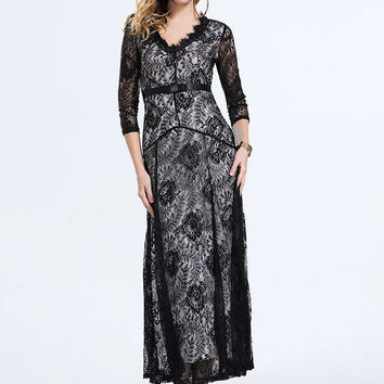 V-neck Gauze Embroidered High Waist 3/4 Sleeve Swing Maxi Lace Dress