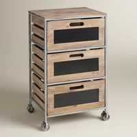 Wood and Metal 3-Drawer Mackenzie Rolling Cart