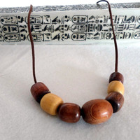 Wooden Necklace on Leather Suede cord. Everday Necklace. Modern adjustable long  necklace.