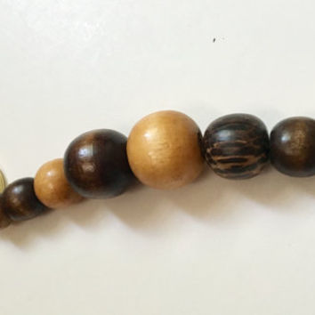 Brown Wood Keychain, Chunky Keychains, Beaded Key Ring, Stocking Stuffer, Gift Idea, Recycled Jewelry, Repurposed, Ucycled