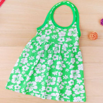 Lovely Baby Girls Backless Floral Pattern Halter Neck Beach Dress 2-7Year NW