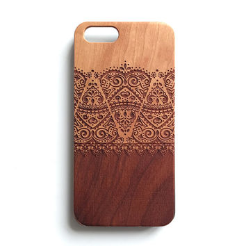 Lace floral real wood engraved iPhone 6 case, iPhone 5s case, iPhone 5C case, iPhone 4s case S045