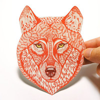 Red Wolf Face wild animal sticker, 100% waterproof vinyl label.