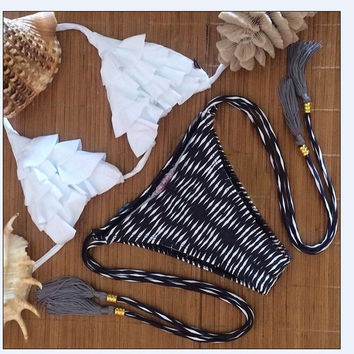 New fashion floral printed sweet white Flower petals waist tie two pieces swimsuit/ bikini suits = 1945947908