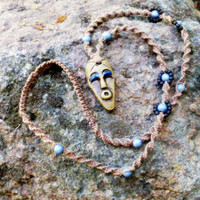 Tribal African Mask Macrame Necklace.