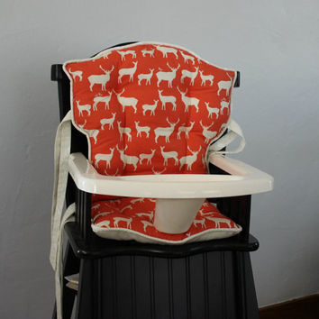 Custom Birch Organic Coral Elk Family High Chair Cushions, High Chair Pads, High Chair Cover, Highchair Pads, Wooden Highchair Cover