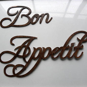 "Bon Appetit Words Medium Sized (Bon 10"" Appetit 18"" Wide) Metal Wall Art Kitchen Decor"