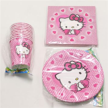 60pcs\lot Baby Shower Tissues Kids Favors Paper Plates Cups Hello Kitty Dishes Glass Birthday Party Decoration Napkins Supplies