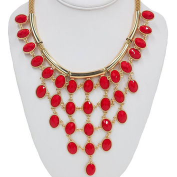 Drop On By Statement Necklace in Red | MACA Boutique