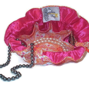 "Drawstring Travel Jewelry Pouch / Satchel - Pink and Orange ""Mustache"" Pattern with Hot Pink Satin"