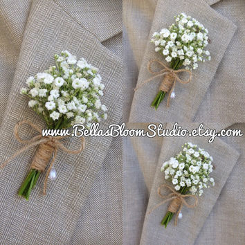 Rustic Boutonniere - Baby's Breath Boutonnieres, mens white boutonniere  Baby's Breath Corsages- Beach wedding -Tropical boutonniere etsy