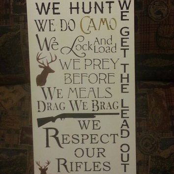 IN this HOUSE we Do CAMO, Hand Painted Rustic Wood Sign, Hunting Decor, Housewares