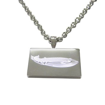 Silver Toned Etched Whale Pendant Necklace