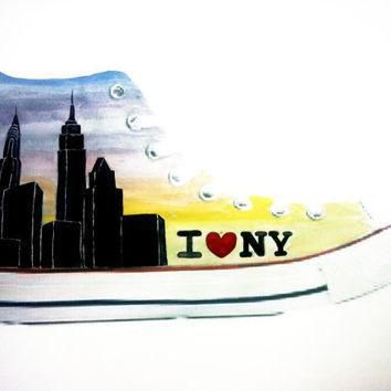 i love new york hand painted converse hi tops adult unisex