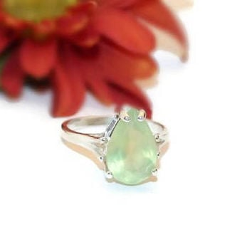 Faceted Prehnite Ring, Pear Shape, Sterling Silver Prehnite Ring, Ring With Stone