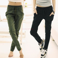 Women Sport Stretch Little Feet Harem Casual Pant Slack Sweatpant Trouser Lacing Jeans clothes 17576 = 1645646660