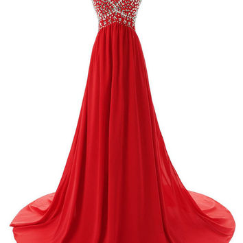 Sweetheart Strapless A-Line Beaded Prom Dresses,Evening Dresses