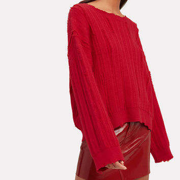Emmet Distressed Cherry Red Sweater