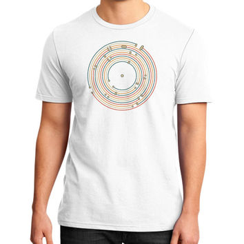 Vinyl music metro record map labyrinth District T-Shirt (on man)