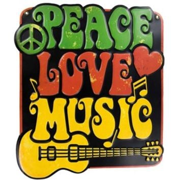 Peace Love Music Embossed Metal Sign | Shop Hobby Lobby