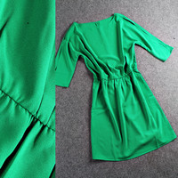 Green Elastic Waist A-Line Mini Dress