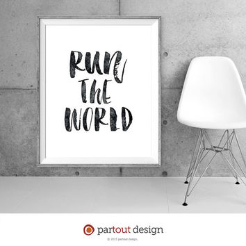Printable art Run the World printable quotes lyrics Beyonce songs minimalist art prints inspirational quote instant download printable song