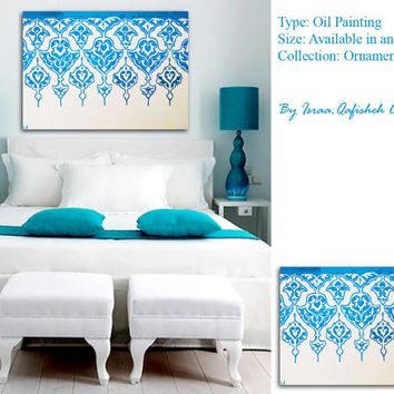 canvas art of arabic ornamentation blue turquoise white home decor available any size any color upon request