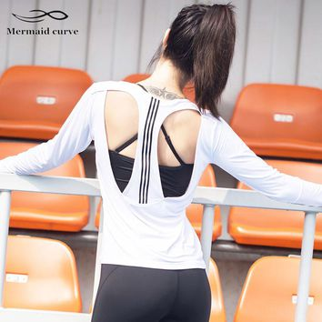 Mermaid Curve 2018 Women Breathable Mesh Hollow Out Yoga Top Long Sleeve Shirts Striped Design Outdoor Sports Running T Shirt