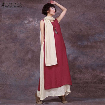 Summer Vintage Casual Loose Sleeveless Dress Sexy O Neck Boho Floor-Length Splice Long Maxi Dresses Plus Size