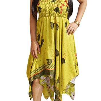 Mogul Interior Women Summer Halter Dress Sari Two Layer Resort Wear Sundress: Amazon.ca: Clothing & Accessories