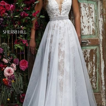 Lace Long V-Neck Prom Dress SH-11282 by Sherri Hill