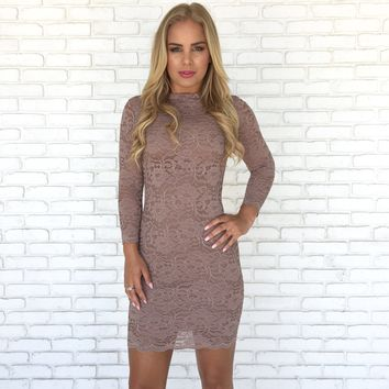 Madeline Lace Bodycon in Mocha