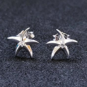 New 14K White Gold on 925 Sterling Silver Starfish CZ Stone Earrings