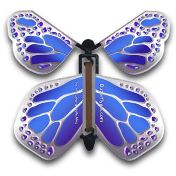 Blue Silver Monarch Magic Flying Butterfly