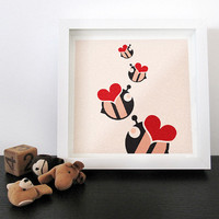 Modern kids wall art print Love bees / red : high quality reproductions from original izzybizzy illustrations