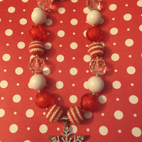 Girls Jewelry/Toddler/Baby/Necklace/Chunky Necklace/Bubble Gum Beads/Snow Flake/Gift Giving/Christmas Gift