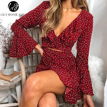 Lily Rosie Girl Print Flare Long Sleeve Women Dress Deep V Neck Crop Beach Sexy Dress Dot Ruffles Short Boho Dress Vestidos