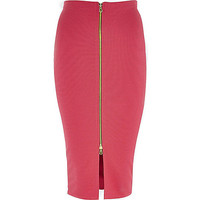 River Island Womens Pink zip front pencil skirt