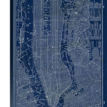 Sue Schlabach Premium Thick-Wrap Canvas Wall Art Print entitled Blueprint Map New York